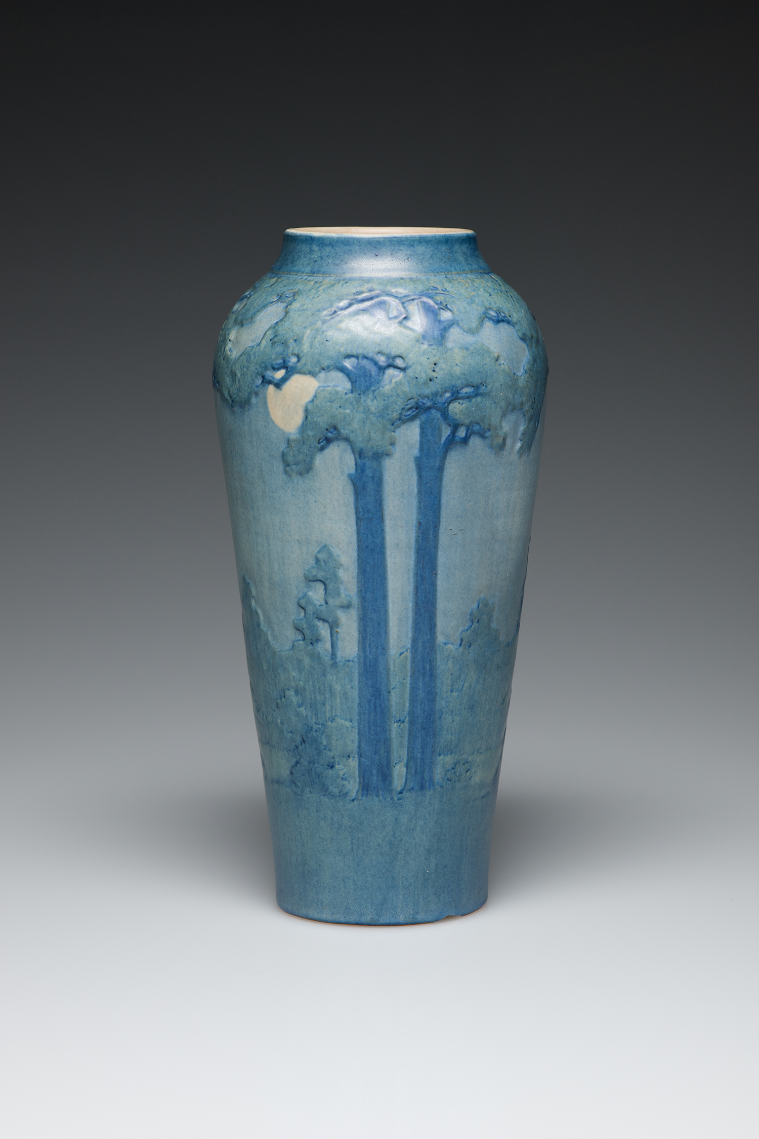 Vase, c. 1931. Low relief of stylized Pitcher plant.