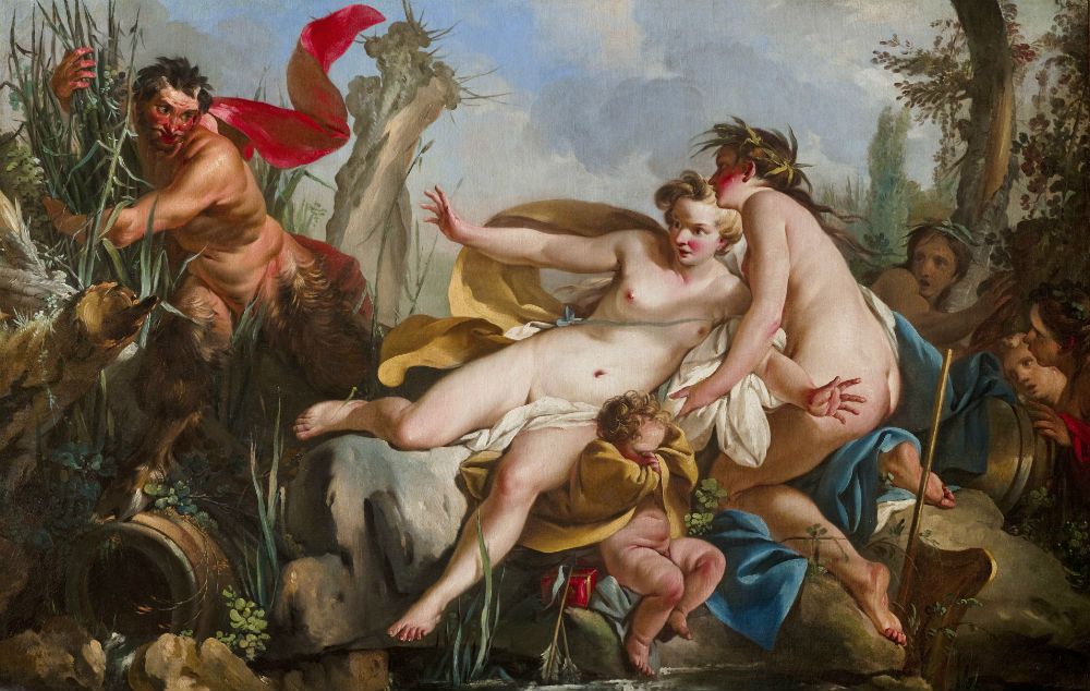 Oil painting by Jean Baptiste Marie Pierre, born 1713, died 1789, entitled Pan and Syrinx in 1746, oil on canvas, 90 x 141 cm